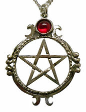 Gothic Pentacle with Red Cabochon Silver Finish Pendant Necklace NK-528