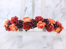 Fall flower crown orange deep red plum - wedding head wreath - garland