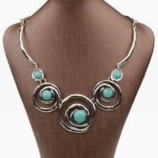 Chunky Tibetan Silver Genuine Turquoise Circle Chain Bib Collar Necklace Pendant