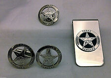 Engraved Texas Ranger Badge Set, Cuff Links, Lapel Pin and Money Clip (silver)
