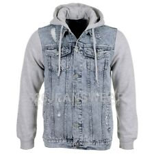 Loyalty & Faith Mens Designer Hooded 2 Tone Ripped Denim Jacket, BNWT