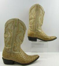 Men's Pradera Beige Full Quill Ostrich Western Boots Size : 9