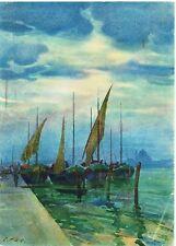 VINTAGE ORIGINAL + WATERCOLOUR + ORESTE PIZIO + ITALIAN ARTIST 1879-1938 +