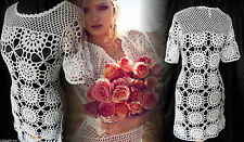 Topshop Vintage Dress 60's 70's Boho Crochet Sheer Mini White 6 8 34 36 US 2 4