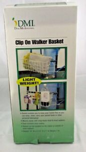 DMI Duro Medical Industries CLIP ON WALKER BASKET New in Box Light Weight White