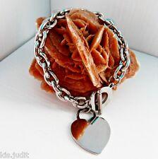 Bracciale donna con ciondolo cuore grande a maglia in acciaio - Colore argento