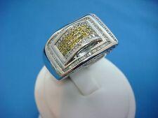 14K WHITE GOLD 1.50 CT YELLOW,BLUE,WHITE DIAMONDS MEN'S RING 13.8 GRAMS,SIZE 10
