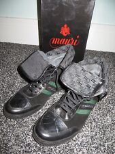Mauri 8867 Italy Men Green Black Suede Alligator Crocodile Boots Casual Shoes 10