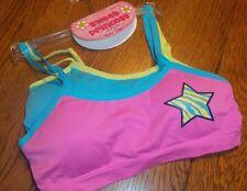 S 6/6X Girl's Sweet Princess 2 Pack Seamless Padded Bra Set Pink Blue Star