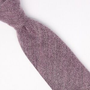 John G Hardy Mens Wool Necktie Thick Soft Woven Mauve Pink Skinny Tie Italy