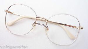 Weisse Oversized Brille Vintage Gestell Damenfassung Sommerbrille hell Grösse M