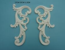 Decorative large ornate scrolls x 2 applique onlay furniture moulding M6