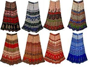 Indian Skirts Free Size Waist Long Womens Dresses Uk Energy Ethnic Hippie Retro