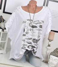 Oversize TUNIKA Häkelspitze FEDER Print NIETEN Häkel Vintage Shirt Weiß 44 46 48