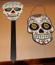 "Halloween Set Of Wooden Skulls Glitter Face 8"" x 6"" Black Day Of The Dead 119E"