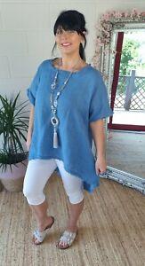 Tunic Top Linen Frayed Edging Hi Lo Slimming Plus Size Fits 14 16 18 Denim Blue