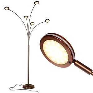 Brightech Orion 5 LED Adjustable Bright Standing Touch Sensor Floor Lamp, Bronze