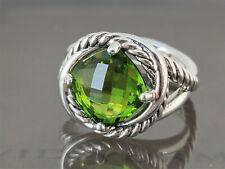 David Yurman Infinity Ring with 11x11mm Green Peridot, size 9