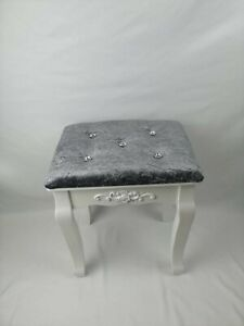 💖Crushed Velvet Dressing Table Stool White Wood Piano Padded Silver