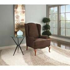 Sure Fit Stretch Suede - Wing Chair Slipcover - choclate