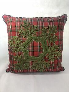 "Mackenzie Childs Plaid Christmas Pillow w/ Large Snowflake 16""x16"""