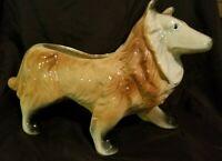 Vintage Ceramic Collie Dog Planter