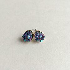 Gold Plated Mini Multi-color Glitter Drop Stud Earrings Glitter EH0970