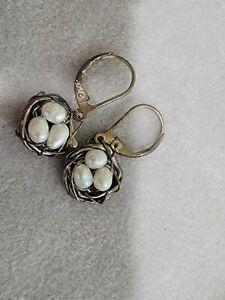 Dana Kellin pearl egg nest wire Earrings in sterling silver 925