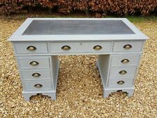 PAINTED SOLID PINE PARTNERS DESK IN MANOR HOUSE GRAY F&B/ ANNIE SLOAN GRAPHITE