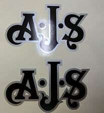 AJS London Stickers x2 A.J.S Decal Logo Tank Motorcycle Vintage Black & Silver B