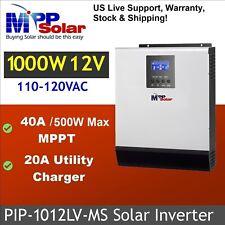USA stock. PIP-1012LV-MS 1000W 12V 120Vac Solar Invert + 40A MPPT +Gen/Util 20A