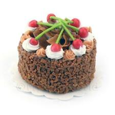 Dolls House Miniature Cherry Fudge Cake