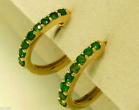 E027 Genuine 9K 9ct Yellow, White or Rose Gold NATURAL Emerald Huggie Earrings