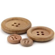 4-HOLE NATURAL ROUND WOODEN BUTTONS - SOLID WOOD - 15MM- 30MM - FOR SUIT/SHIRT