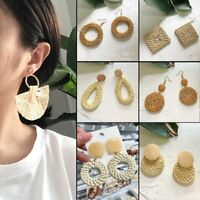 Fashion Women Round Straw Rattan Woven Earrings Ear Stud Dangle Jewelry Gift New