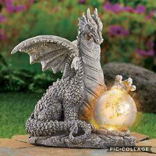 Faux Stone Solar Powered Dragon Yard Garden Statue With Gazing Ball Globe Decor