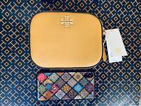 New Tory Burch Logo Round Crossbody Pebbled Leather bag Solarium Yellow $298