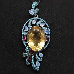 22.50ctw Citrine, Multi-Color Sapphire & Turquoise Black Rhodium 925 Necklace