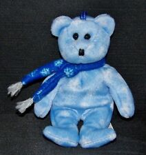 Ty 1999 HOLIDAY TEDDY Blue Bear (Stitched Nose Var) 5