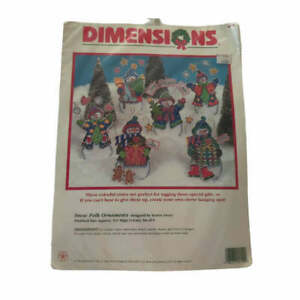 Dimensions Snow Folk Ornaments Plastic Canvas Kit Christmas Set of 6 NEW