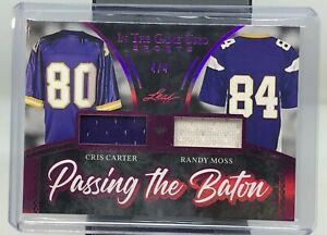 2020 In The Game Used Sports Cris Carter Randy Moss Dual Jersey 4/4!
