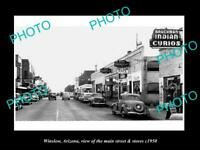 OLD POSTCARD SIZE PHOTO OF WINSLOW ARIZONA THE MAIN STREET & STORES c1950