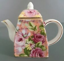 Nantucket Miniature Porcelain Gold Trim Floral Teapot