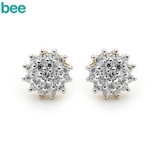 New Classic Simulated Diaomond Cluster 9k 9ct Solid Yellow Gold Studs Earrings