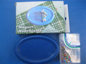 """MAGNETIC SEWING PIN CUSHION HOLDER +  200  1 1/2 """"   COLOR QUILTING PINS"""
