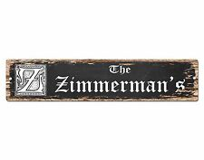 SPFN0350 The ZIMMERMAN'S Family Name Street Chic Sign Home Decor Gift Ideas