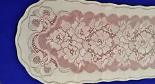 """Lace 14"""" x 54"""" Table Runner Ivory over Mauve Victorian Rose Diningroom Bedroom"""