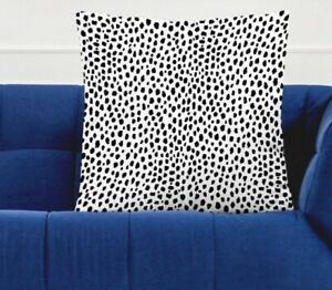 Spotty dalmation animal print cushion cover 45cm x 45cm New black and white dog