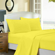 Super Soft Ultra Yellow Solid Flat & Fitted Sheet Set 1000 TC 100% Cotton