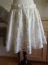 River Island White Fully Gold Embroidery Skirt Size-12 New Without Tags (D1)
